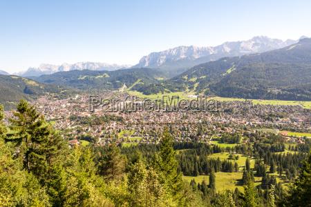 aerial view over garmisch in the