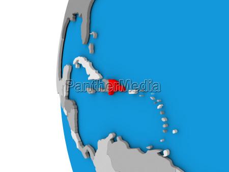 dominican republic on globe