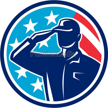american soldier serviceman saluting flag circle