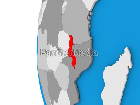malawi on globe
