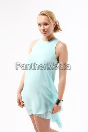 woman in blue gauzy dress