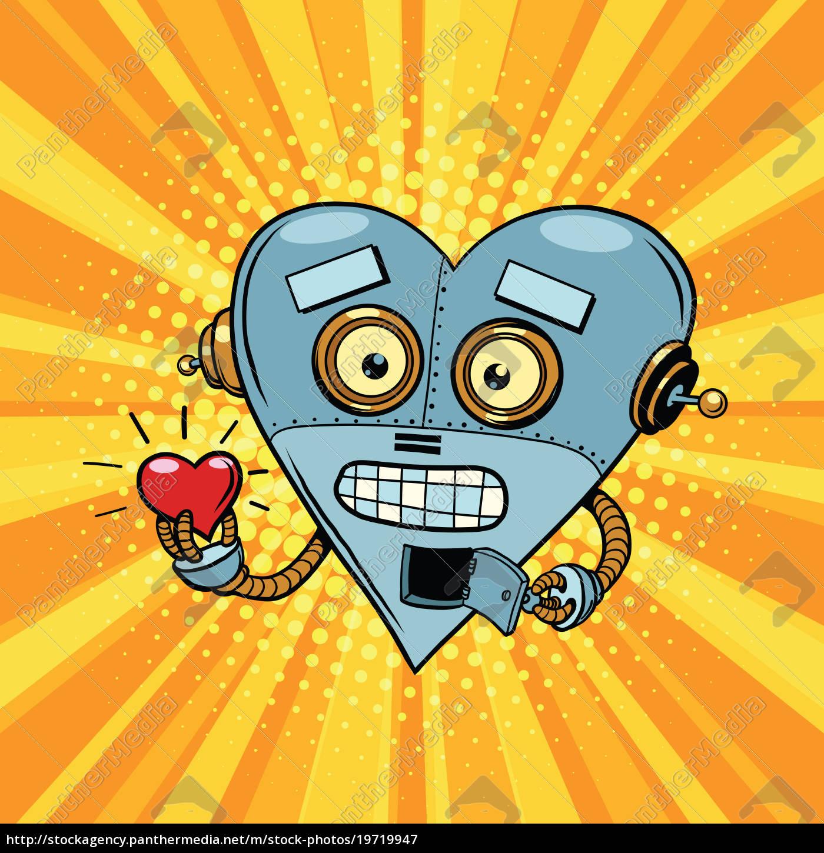 Stock Photo 19719947 - Retro robot heart Valentine love and romance