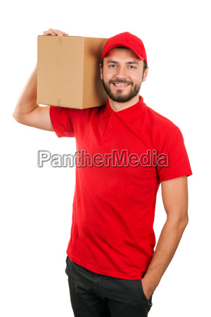 delivery man holding shipping box on