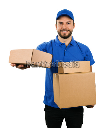 delivery courier giving cardboard shipping box