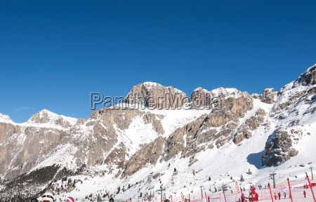 skiing area in the dolomites alps
