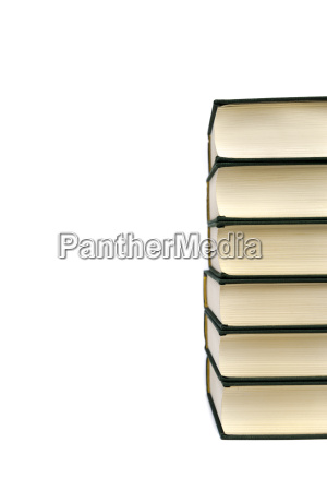 stack of hardcover books isolated on