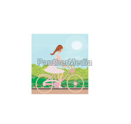 girl is riding bike on spring