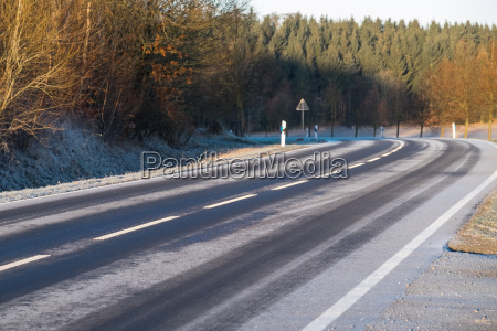 wintry road with frosting