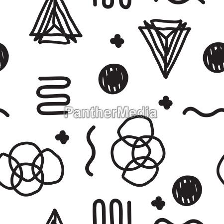 vector seamless geometric doodle pattern