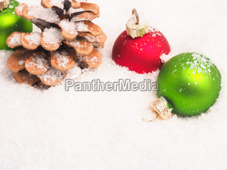 christmas background with old baubles and