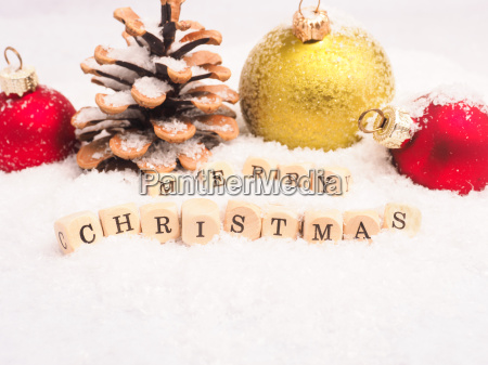 merry christmas on wooden dices with