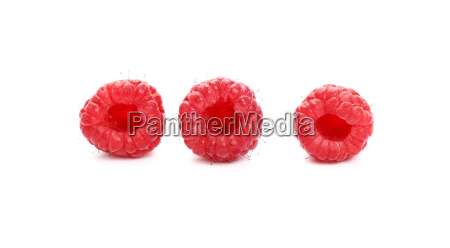 fresh red ripe raspberries on white