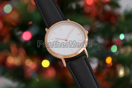 black leather strap wrist watch in