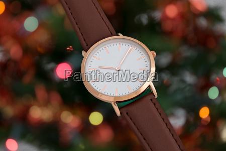 brawn leather strap wrist watch in