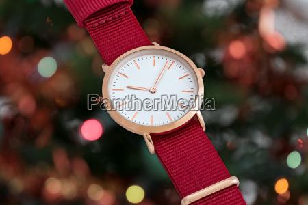 red nylon strap wrist watch in