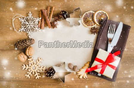 culinary background christmas postcard with empty