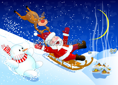 jolly santa claus coming down