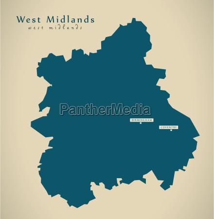 modern map west midlands uk