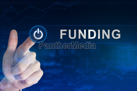 business hand clicking funding button