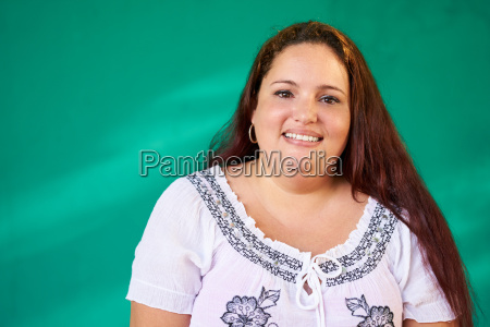 real people portrait happy overweight hispanic