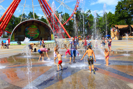 children wash themselves in fountains gorky