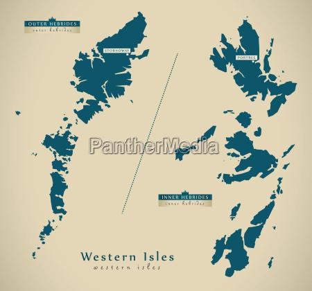 modern map western isles uk