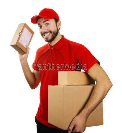funny delivery service man with boxes