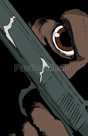 dark skinned person holding pistol close