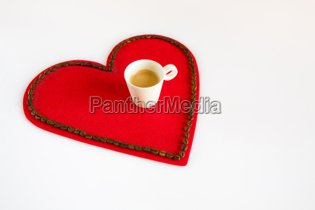 cup of coffee on a red