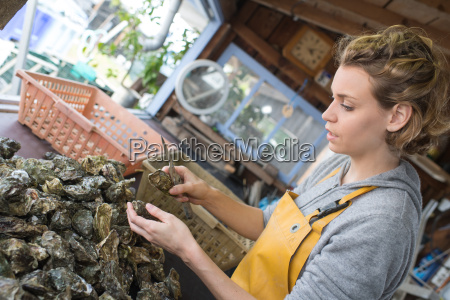 pretty oyster farmer sorting shellfish for