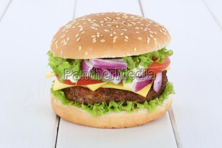 cheeseburger hamburger cheese tomato salad wooden