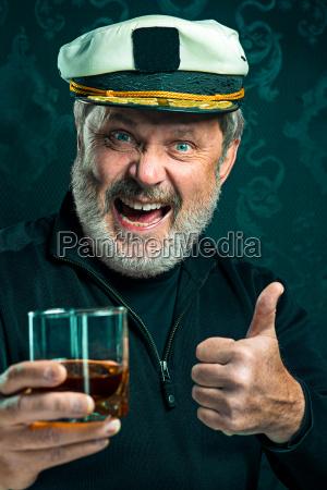 portrait of old captain or sailor