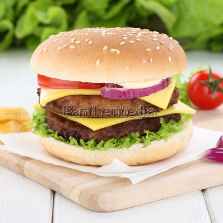 double cheeseburger hamburger fresh onion meat