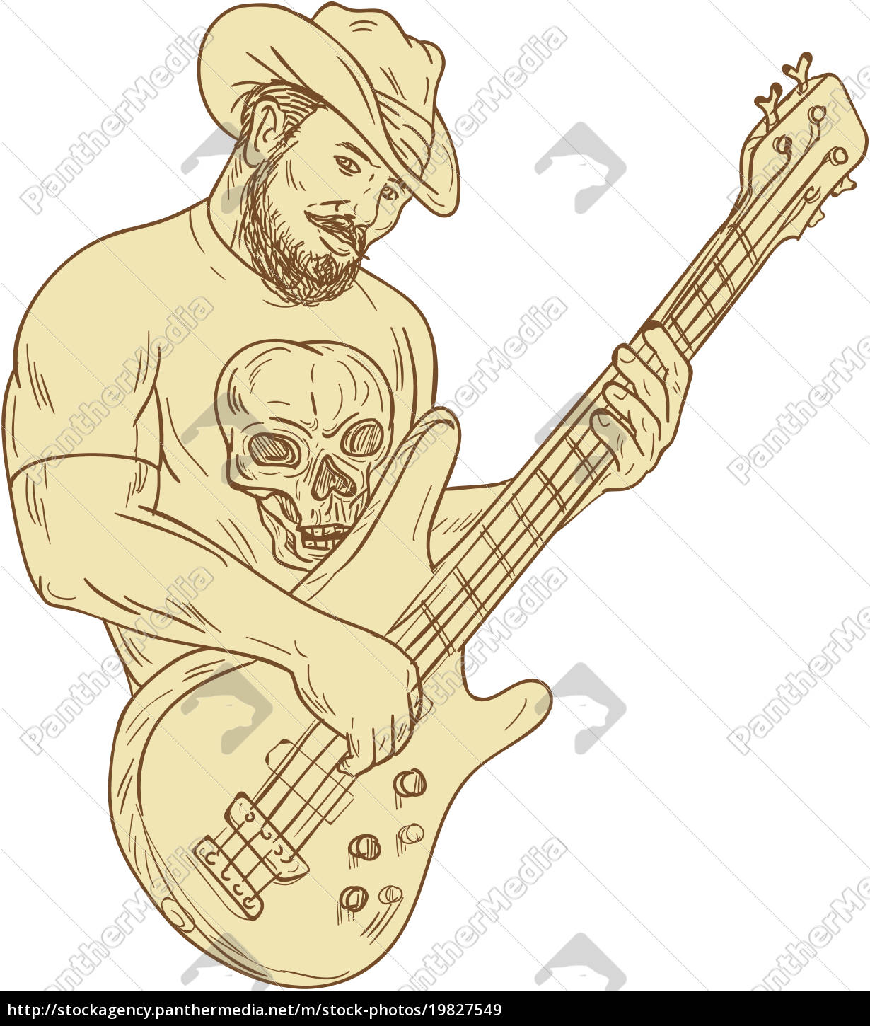Cowboy Bass Guitar Isolated Drawing Royalty Free Image 19827549 Panthermedia Stock Agency