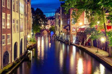 night oudegracht and bridge utrecht netherlands