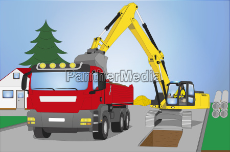 road construction site with truck and