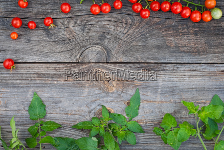 grey wooden background with ripe red