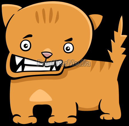 angry kitten cartoon character