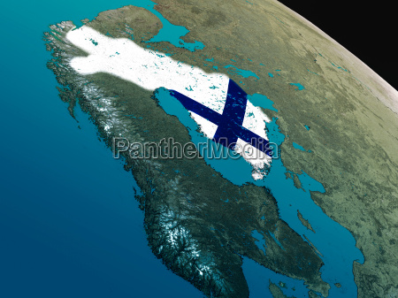 flag of finland from space