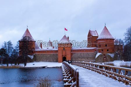 trakai castle in winter island