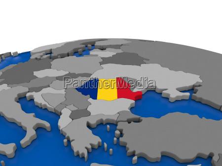 romania on 3d globe