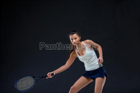 portrait of beautiful girl tennis player