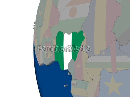 nigeria with national flag