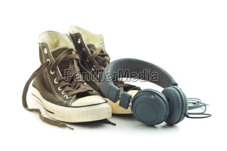 vintage sneakers and headphones