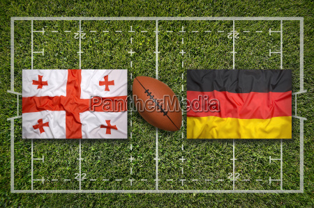 georgia vs germany flags on rugby