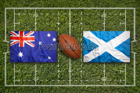 australia vs scotland flags on rugby