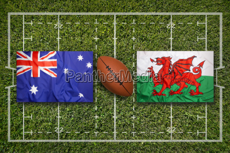 australia vs wales flags on rugby