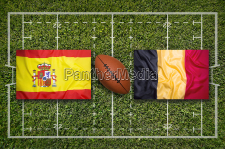 spain vs belgium flags on rugby