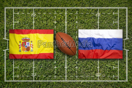 spain vs russia flags on rugby