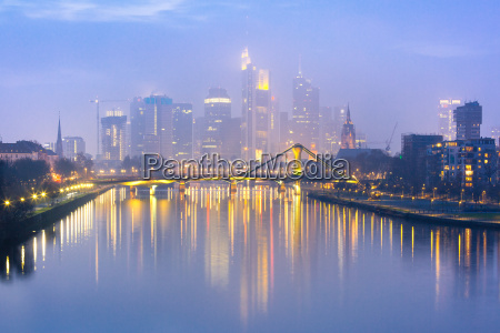 foggy frankfurt am main during blue